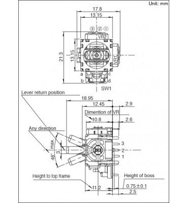 Original V8 analog 3D Thumbstick Sensor - Xbox One Controller PS4 Dualshock